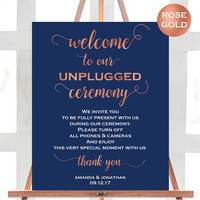 Welcome To Our Unplugged Wedding Sign - Navy Wedding Ceremony Sign - No Cell Phones Sign - PDF Wedding - Downloadable wedding - We Do Honey