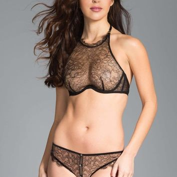 Black Halter Bra And Panty Set