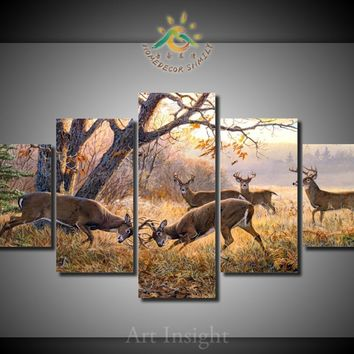 Deer Buck Fighting Wildlife Nature Five Piece Canvas