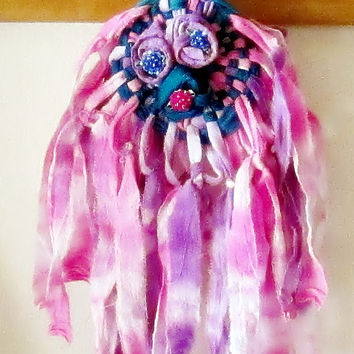 Gypsy Dreamweaver, Pink Teal door hanger dream catcher, Boho flower wall hanging, Tie Dye little girls room decor, Baby room decor, baby