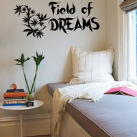 Vinyl Decals Field of Dreams Cannabis Leaf Home Wall Art Decor Removable Stylish Sticker Mural L532 Unique Design  Bed Room