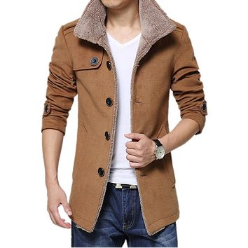 Woollen overcoat Business Men Casual Warm Coats Good Quality Single Breasted Design Thicken Man Fashion Wool Clothings Gent Life