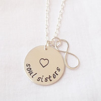 Soul Sisters Infinity Necklace ~ Hand Stamped, Sterling Silver, Best Friends, Friendship Necklace ~ MADE TO ORDER