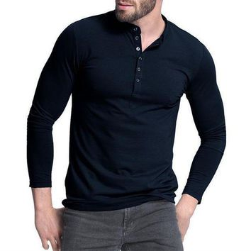 ICIKON3 mens henley shirtpopular design tee tops long sleeve stylish slim fit plain t shirt button placket casual men t shirts