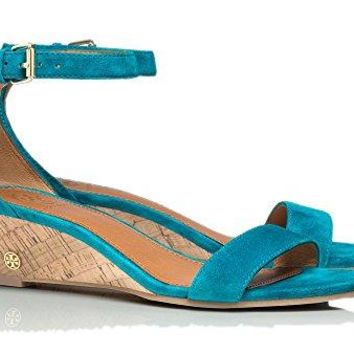 Tory Burch Women's Savannah Soho Suede 45MM Wedge Sandal Aquarius 5 M US