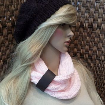 Pink Infinity Scarf Loop Chunky Neck Warmer w/ Wide Black Leather Cuff