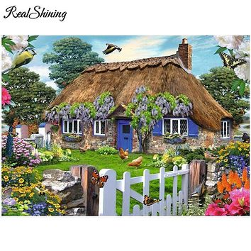 5D Diamond painting Blue Door Thatched Cottage Kit