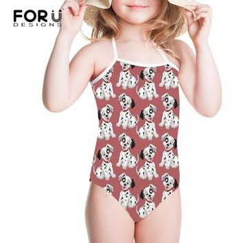 FORUDESIGNS Swimsuit One Piece Swim Suit Dalmatian Dog Printing One-piece Suits Children Swimwear for Girls 2018 Bathing Suit