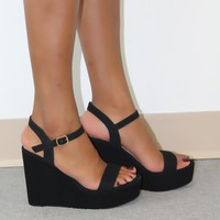 Nubuck Black Wedges