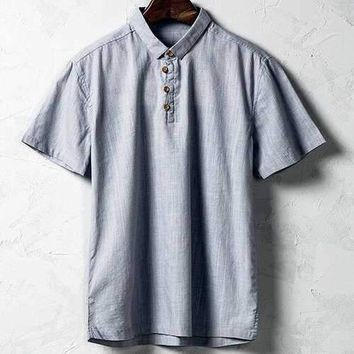 Cotton Linen Vintage Chinese Style Solid Color Casual Slim Fit T-shirt For Men