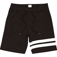 River Island MensBlack Bellfield placement stripe shorts