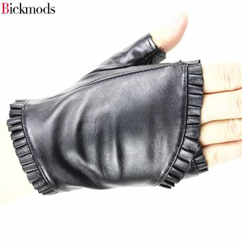 2017 female Fingerless leather gloves wrinkled lace style semi pointed sheepskin gloves sports ride driving