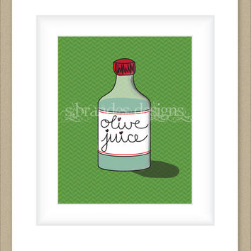 "8x10 ""Olive Juice"" Whimsical I Love You Print, Graphic Print Custom Colors"