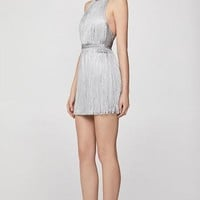Fringe With Benefits Silver Foil Print Bandage Dress