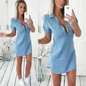 Stylish Women dress Casual Ladies Short Sleeve Loose Summer turn-down collar Button solid Denim dresses one pieces