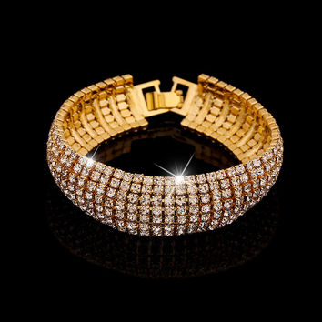New Fashion Round Crystal Bracelets Gold Silver Link Chain Wrap Cuff Bracelets for women Gold