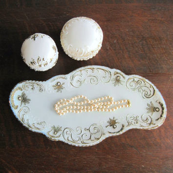 Milk Glass Dresser Tray Set, Victorian Shabby Chic