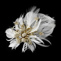 Opentip.com: Elegance by Carbonneau Clip-456-Gold Glamorous Gold Bridal Hair Clip with Brooch Pin and Clear Rhinestones & Ivory Feathers 456
