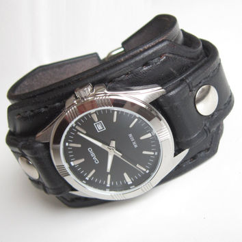 Black Leather cuff watch, Casio Wide Wristband