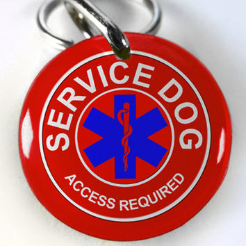 Service Dog Tag Custom Dog tag double sided id tag Red Personalized medical tag