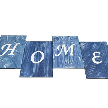 "HOME Painting Art Panel Set of 4 in Dark Blue, Light Blue and White, Abstract Painting Set 4x6"", Original Art for Home Decor"