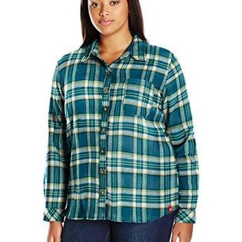 Dickies Womens PlusSize LongSleeve Plaid Flannel Shirt