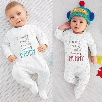 Newborn Infant Clothes Baby Boys Girls Clothing Set  Long Sleeve Letter I Love Mom I Love Dad Romper Casual Pajamas