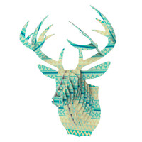 "Nika Martinez ""Glitter Chevron in Teal"" Blue Pattern Bucky Deer Bust Jr."