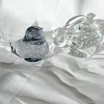 Blown Glass Paperweight Bird and Rabbit , Collectible Bubble Glass Figurine