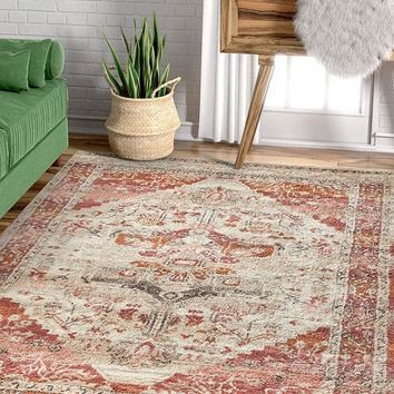 2929 Pink Medallion Distressed Oriental Area Rugs