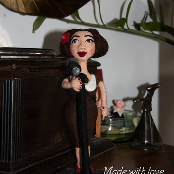 "SOFT SCULPTURE ""Jazz singer"", interior doll. OOAK gift for a musician. Art doll. Home Decor. Cafe decor. 100% organic wool."