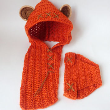Ewok Style Crocheted Baby Hood And Diaper Cover Set From Star Wars For Newborn Photo Prop Baby With Big Flower Halloween Baby