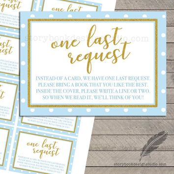 Gold Polka Dot Baby Shower Book Request Cards Pink or Blue