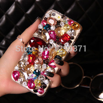 Colorful Bling Diamond Phone Case Cover For Iphone 6 6S Plus 5 5S SE 5C 4S Samsung Galaxy Note 5 4 3 2 S7 S6 Edge Plus S5 S4 S3
