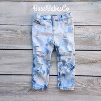 Boho Kids, Ripped Jeans, Distressed Jeans, Kids Custom Denim, Boys Girls Ripped Jeans, Kids Distressed Denim, Kids Distressed Jeans