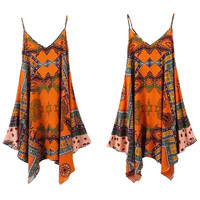Bohemian Print Irregular Bottom Hem Cami Dress