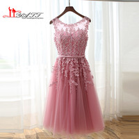 2016 Dust Pink Beaded Lace Appliques Short Prom Dresses Robe De Soiree Knee Length Party Evening Dress