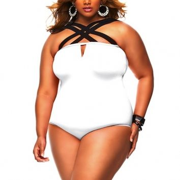 """Columbia"" Crisscross Strap Plus Size Swimsuit– White - Sale - Monif C"