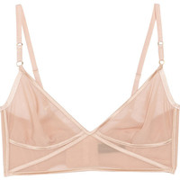 Kiki de Montparnasse Sheer Taped stretch silk-chiffon soft-cup bra