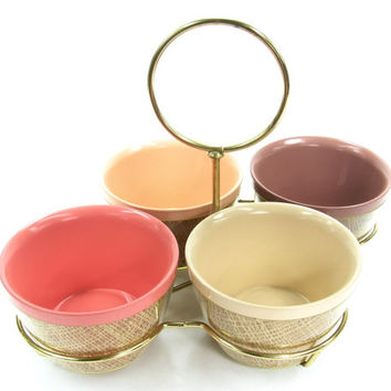 Vintage Melmec / Raffia Ware Condiment / Chip and Dip Serving Dishes with Gold Tone Holder/ Raffiaware / Thermoware / Thermo Ware