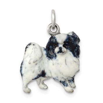 925 Sterling Silver Silver Enamel Japanese Chin Charm and Pendant