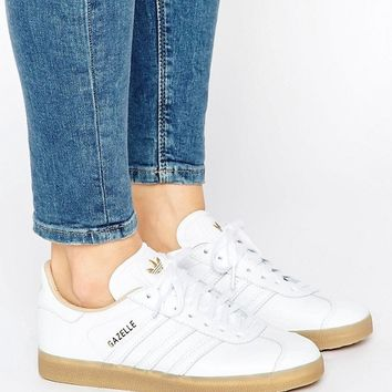 adidas Originals White Leather Gazelle Trainers With Gum Sole at asos.com
