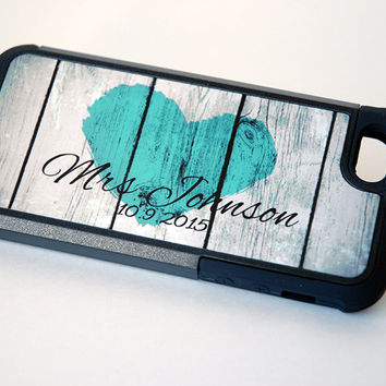 Mrs. Monogram Phone Case + Protective Case + teal, iPhone 6 Case, 6+ Case