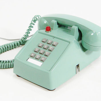 Vintage Phone Sea Green Upcycled Hotel push button by ohiopicker