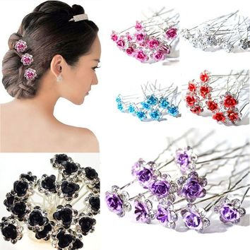 20PCS Elegant Flower Jewelry Wedding Engagement Hair Decor Clips Crystal Flower Hairpins Rhinestone Fashion Hair Pin
