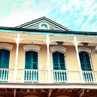 "New Orleans Photograph, ""Aqua and Yellow House"" Travel Photography, Colorful Pastel Houses, French Quarter"