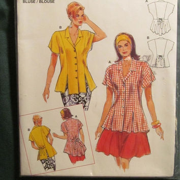 SALE Uncut Burda Sewing Pattern, 4319! 8-10-12-14-16-18 Small/Medium/Large/Women's/Misses/Button Up Blouses/Flare/Collared Shirts/Hippie Top