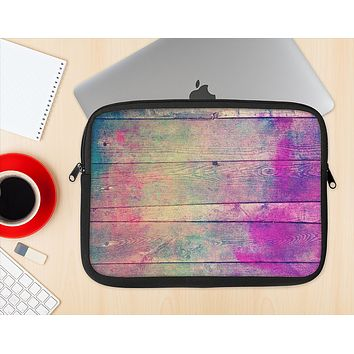 The Pink & Blue Grunge Wood Planks Ink-Fuzed NeoPrene MacBook Laptop Sleeve