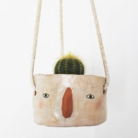 Ceramic Hanging Planter - 'Sarah' Face by Megan Clarke