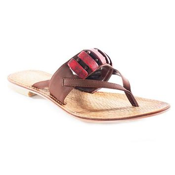 NOMI BEADED THONG SANDALS - BROWN